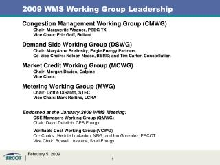 Congestion Management Working Group (CMWG) Chair: Marguerite Wagner, PSEG TX