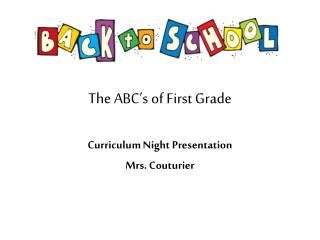The ABC's of First Grade