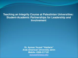 Teaching an Integrity Course at Palestinian Universities: