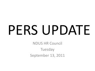 PERS UPDATE