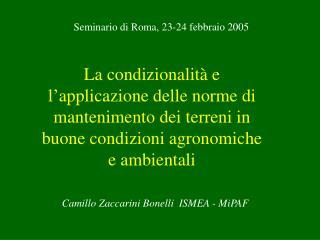 Camillo Zaccarini Bonelli  ISMEA - MiPAF