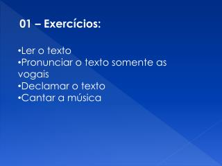 01 – Exercícios: