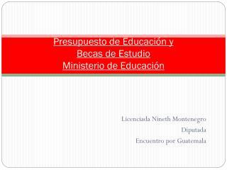 Presupuesto de Educaci�n y  Becas de Estudio Ministerio de Educaci�n