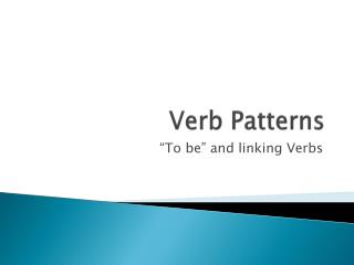 Verb Patterns