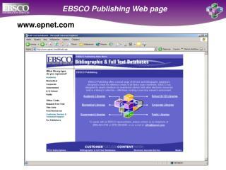 EBSCO Publishing Web page