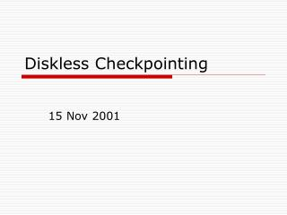 Diskless Checkpointing