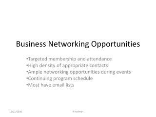 Business Networking Opportunities
