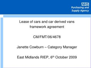 Lease of cars and car derived vans framework agreement  CM