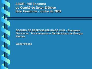 ABGR - VIII Encontro  do Comitê do Setor Elétrico  Belo Horizonte - Junho de 2009