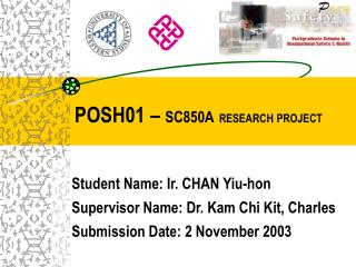 POSH01 –  SC850A RESEARCH PROJECT