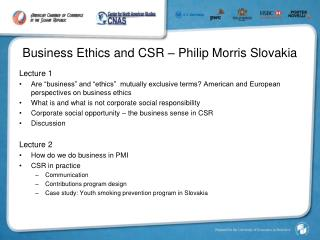 Business Ethics and CSR � Philip Morris Slovakia