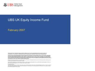 UBS UK Equity Income Fund