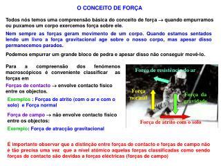 O CONCEITO DE FORÇA