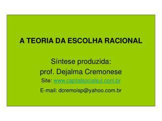 A TEORIA DA ESCOLHA RACIONAL Síntese produzida:  prof. Dejalma Cremonese