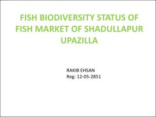 FISH BIODIVERSITY STATUS OF FISH MARKET OF SHADULLAPUR UPAZILLA