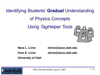 Identifying Students'  Gradual  Understanding  of Physics Concepts Using  TagHelper Tools