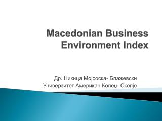 Macedonian Business Environment Index
