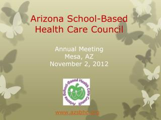 Arizona School-Based Health Care Council Annual Meeting Mesa, AZ November 2, 2012