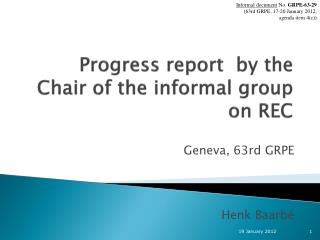 Progress report  by the Chair of the informal group on REC
