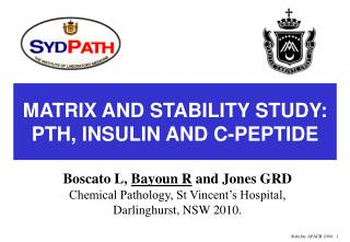 MATRIX AND STABILITY STUDY:  PTH, INSULIN AND C-PEPTIDE