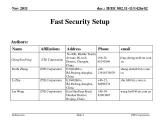 Fast Security Setup
