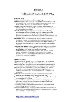 MODUL 6 PENGADAAN BARANG DAN JASA 6.1. Prinsip Dasar