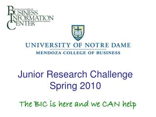 Junior Research Challenge Spring 2010