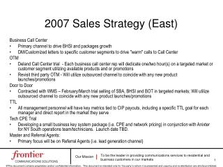 2007 Sales Strategy (East)