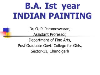 B.A.Ist  year INDIAN PAINTING