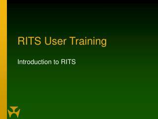 RITS User Training