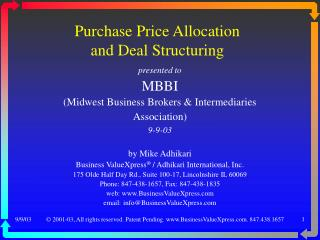 Purchase Price Allocation and Deal Structuring