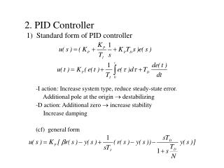 2. PID Controller  1)  Standard form of PID controller