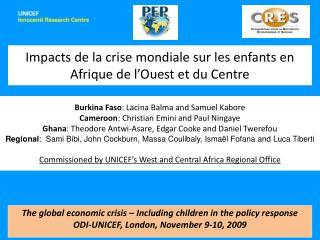 Impacts de la crise mondiale sur les enfants en Afrique de l'Ouest et du Centre