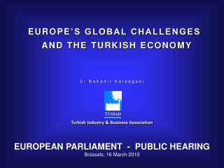 E E UROPE 'S GLOBAL CHALLENGES   AND THE  TURK ISH ECONOMY