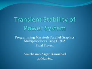 Transient Stability of Power System