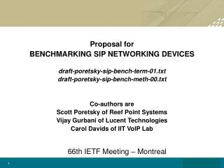 Proposal for  BENCHMARKING SIP NETWORKING DEVICES  draft-poretsky-sip-bench-term-01.txt