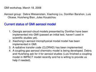 GMI workshop, March 18, 2008