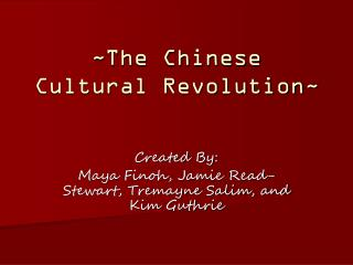 ~The Chinese Cultural Revolution~