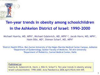 Ten-year trends in obesity among schoolchildren in the Ashkelon District of Israel: 1990-2000