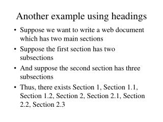 Another example using headings
