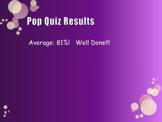 Pop Quiz Results