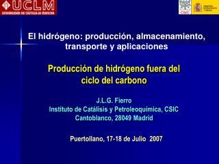 Producción de hidrógeno fuera del  ciclo del carbono J.L.G. Fierro