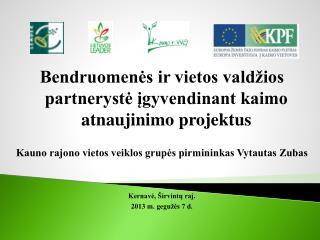Bendruomenės ir vietos valdžios partnerystė įgyvendinant kaimo atnaujinimo projektus