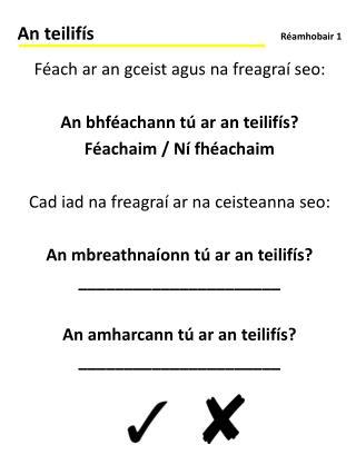 Féach ar an gceist agus na freagraí seo: An bhféachann tú ar an teilifís? Féachaim / Ní fhéachaim