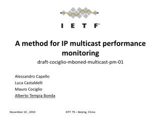 A method for IP multicast performance monitoring