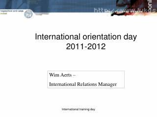International orientation day  2011-2012