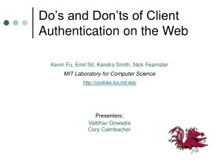 Do's and Don'ts of Client Authentication on the Web