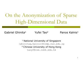 On the Anonymization of Sparse High-Dimensional Data
