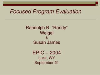 Focused Program Evaluation