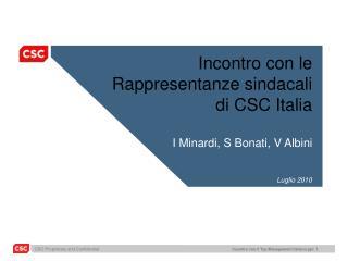 Incontro  con le  Rappresentanze sindacali di  CSC Italia I  Minardi , S  Bonati , V  Albini